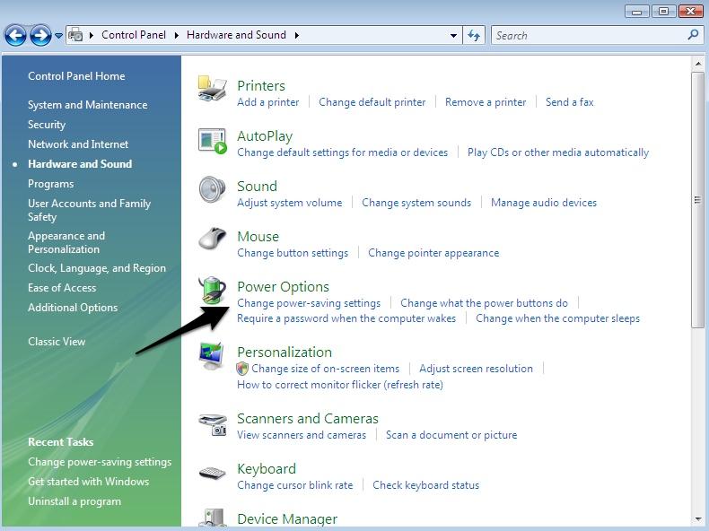 "Click ""Change power-saving settings"""