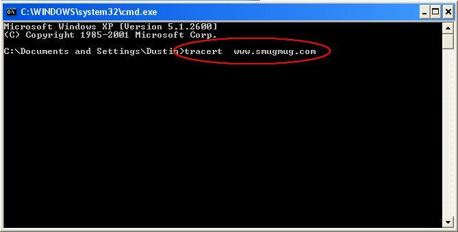 "You will then get a command prompt.  Type in <font color=""red""> tracert upload.smugmug.com </font> and hit Enter.  Wait for those results to finish then copy them for us."