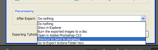"Now head back to Lightroom, cancel the running export if it's still open and do another export of the images you want to upload to SmugMug. The ""Post-Processing/After Export"" option now has an extra function called ""Shortcut to Send to Smugmug"". If you don't like this name, rename the shortcut in the ""Export Actions"" folder."