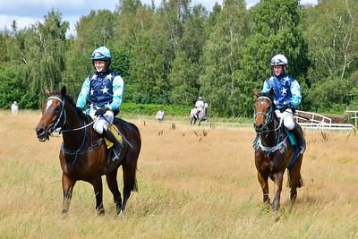 Last Interviewer (t v) och Accelerate (t h). Blommeröd 190809 Foto: Stefan Olsson / Svensk Galopp