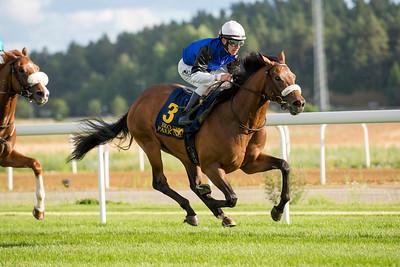 Mr Oban vinner med Shane Karlsson | Bro Park 160802 | Foto: Elina Björklund / Svensk Galopp
