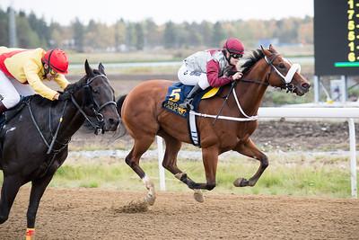 The Penny Horse och Christoffer Wallin (t v) vinner knappt före Rossmos Secret Bro Park 160928 Foto: Magnus Östh / Svensk Galopp