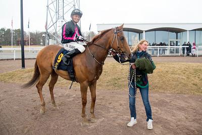 Ever So Clever tillsammans med Per-Anders Gråberg och Ylva Brandt Bro Park 170329 Foto: Elina Björklund / Svensk Galopp