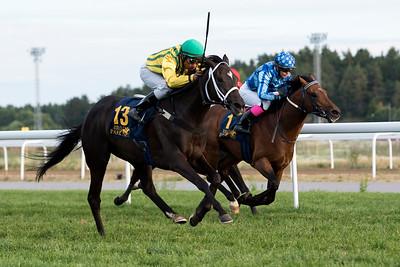 Elita vinner med Carlos Lopez   Bro Park 170724 Foto: Elina Björklund / Svensk Galopp