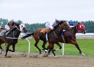 Viejo Perro och Isadora Karlsson vinner knappt före Salamanca | Jägersro 110814  Foto: Stefan Olsson / Svensk Galopp