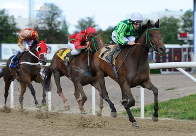 Fine Humor och George Baker vinner före Jobim och On The Tracks   Jägersro 120812    Foto: Stefan Olsson / Svensk Galopp