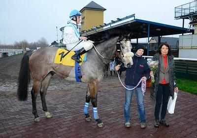 Vercam och Iago Serry i vinnarcirkeln tillsammans med Bodil Hallencreutz och skötare Emma Körner | Jägersro 131127 | Foto: Stefan Olsson / Svensk Galopp