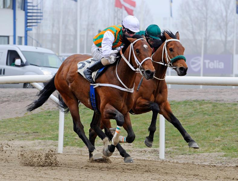 Well Tried och Jacob Johansen vinner före Mutaaleq   Jägersro 140406   Foto: Stefan Olsson / Svensk Galopp