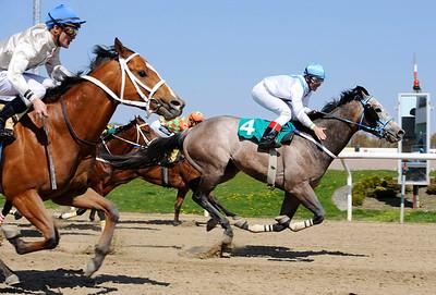 Vercam och Iago Serry vinner före Mr Horsepower. | Jägersro 140427 | Foto: Stefan Olsson / Svensk Galopp