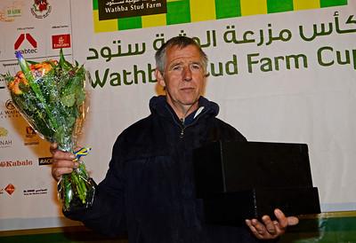 Tränare och ägare G T Zoetelief efter Gazel T:s seger i Wathba Stud Farm Cup | Jägersro 140513 | Foto: Stefan Olsson / Svensk Galopp