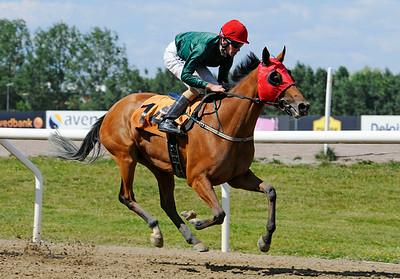Rosy Red vinner med Jacob Johansen | Jägersro 140723 | Foto: Stefan Olsson / Svensk Galopp