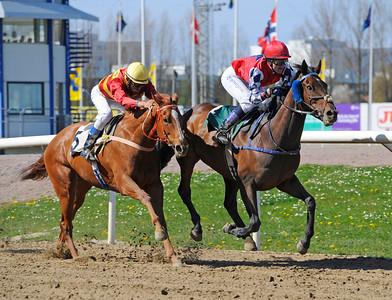 Gate To Success och Nathalie Johnsson vinner före Valley of Thunder | Jägersro 150503 | Foto: Stefan Olsson / Svensk Galopp