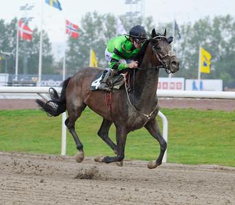 Hurricane Emerald vinner med Shane Karlsson   Jägersro 150828   Foto: Stefan Olsson / Svensk Galopp