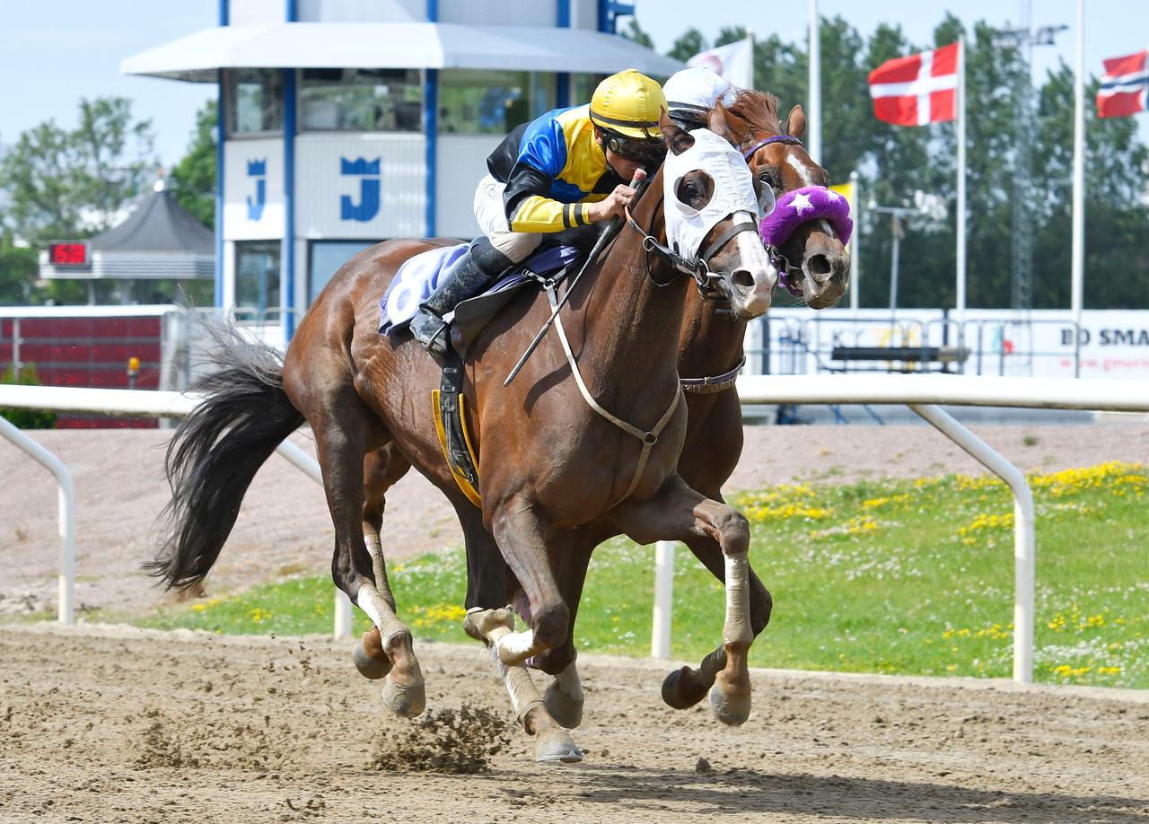 Enjoy The Light och Elione Chaves vinner före Itsakeeper Jägersro 170628 Foto: Stefan Olsson / Svensk Galopp