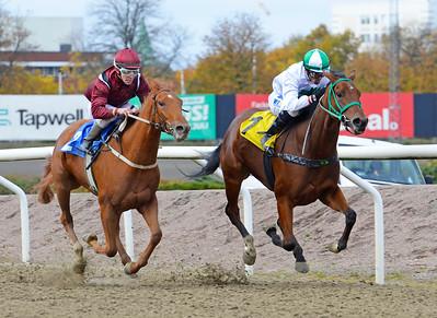 Half Heaven och Nelson De Souza vinner före Robina Face Jägersro 161026 Foto: Stefan Olsson / Svensk Galopp