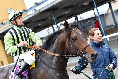 Top Turn tillsammans med Per-Anders Gråberg och skötare Maria Olsson Jägersro 170412 Foto: Stefan Olsson / Svensk Galopp
