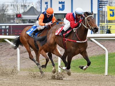 The Danish Girl och Martin Rodriguez vinner före Dorcia Jägersro 170412 Foto: Stefan Olsson / Svensk Galopp