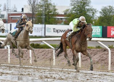 Lomax vinner med Nathalie Johnsson Jägersro 170510 Foto: Stefan Olsson / Svensk Galopp