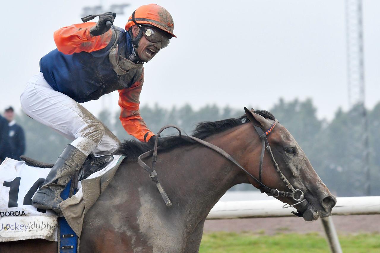 Dorcia och Carlos Lopez vinner Svenskt Derby Foto: Stefan Olsson / Svensk Galopp