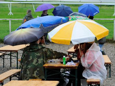 Publiken trotsade regnet på Derbydagen | Klampenborg 120624 |  Foto: Stefan Olsson / Svensk Galopp
