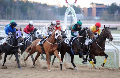 Lopp 2 med varvet kvar till mål | Täby 120115 |  Foto: Stefan Olsson / Svensk Galopp