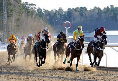 Lopp 4 med varvet kvar till mål   Täby 120129    Foto: Stefan Olsson / Svensk Galopp
