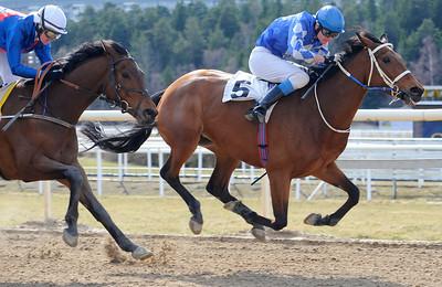 Mrs Casino Royal och Cristopher Roberts vinner före Strong Wind | Täby 120408 |  Foto: Stefan Olsson / Svensk Galopp