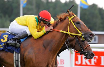 Calrissian vinner med Valmir de Azeredo | Täby 120818 |  Foto: Stefan Olsson / Svensk Galopp