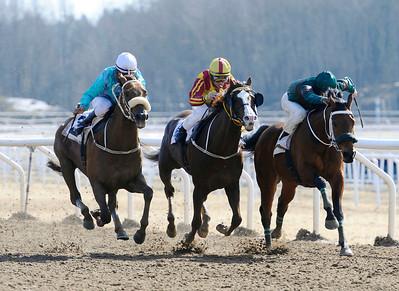 Jimmy Mack och Carlos Lopez (t v) vinner före Mutaaleq och Erroll.  | Täby 130414 |  Foto: Stefan Olsson / Svensk Galopp