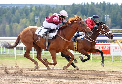 Död löpning mellan Ailsa Carmel (Elin Borén) och Moulis (Maria Nilsson) | Täby 130508 |  Foto: Stefan Olsson / Svensk Galopp