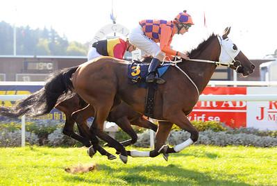Ragazzo vinner med Jacob Johansen   Täby 140914   Foto: Stefan Olsson / Svensk Galopp