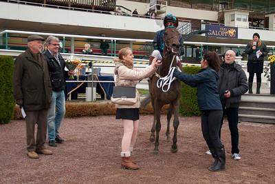 Glück Zurück i vinnarcirkeln   Täby 141105   Foto: Elina Björklund / Svensk Galopp