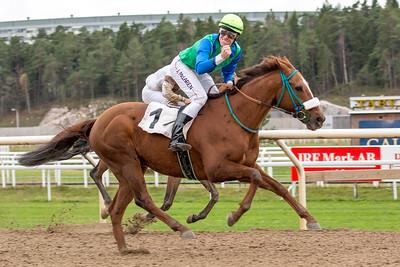 Hurry Lime vinner med Julian McLaren   Täby 141105   Foto: Elina Björklund / Svensk Galopp