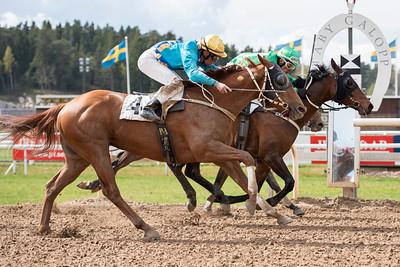 Top Story (invändigt) och Leonard Rios vinner knappt före Rakheem | Täby 150429 | Foto: Elina Björklund / Svensk Galopp