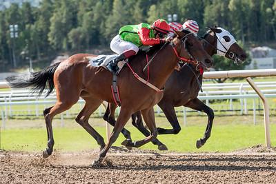 Ede's Piraya och Elione Chaves vinner före Aboule Le Fric | Täby 150909 | Foto: Elina Björklund / Svensk Galopp