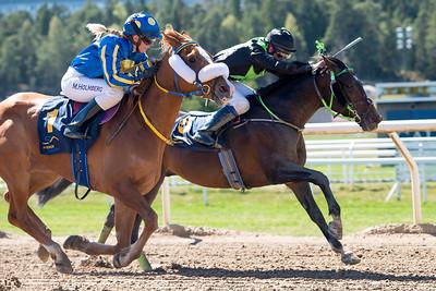 Assiaf och Fanny Olsson vinner knappt före Al Murjaan | Täby 160505 | Foto: Elina Björklund / Svensk Galopp