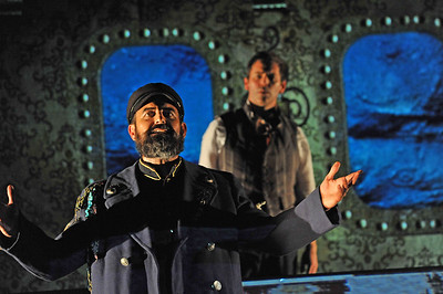 Serafín Falcón and Brendan McMahon in TWENTY THOUSAND LEAGUES UNDER THE SEA at Asolo Rep. Photo by Gary W.  Sweetman.