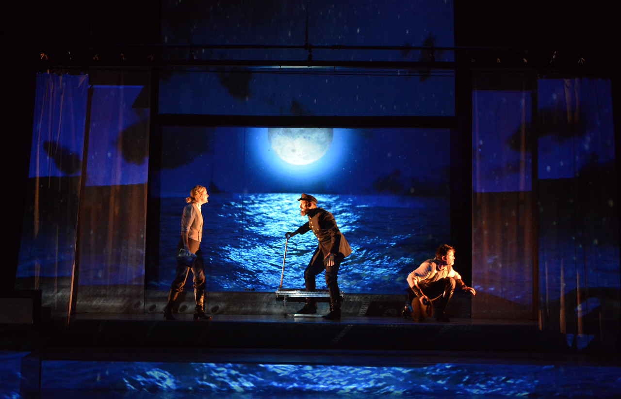 Suzy Jane Hunt, Serafín Falcón and Marcel Jeannin in TWENTY THOUSAND LEAGUES UNDER THE SEA at Asolo Rep. Photo by Gary W.  Sweetman.