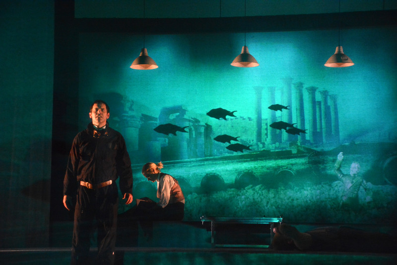 Brendan McMahon and Suzy Jane Hunt in TWENTY THOUSAND LEAGUES UNDER THE SEA at Asolo Rep. Photo by Gary W.  Sweetman.