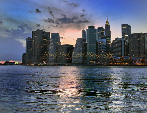 Twilight view of lower Manhattan.