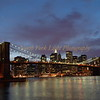 Classic view of Brooklyn Bridge and South Street Seaport from Brooklyn.