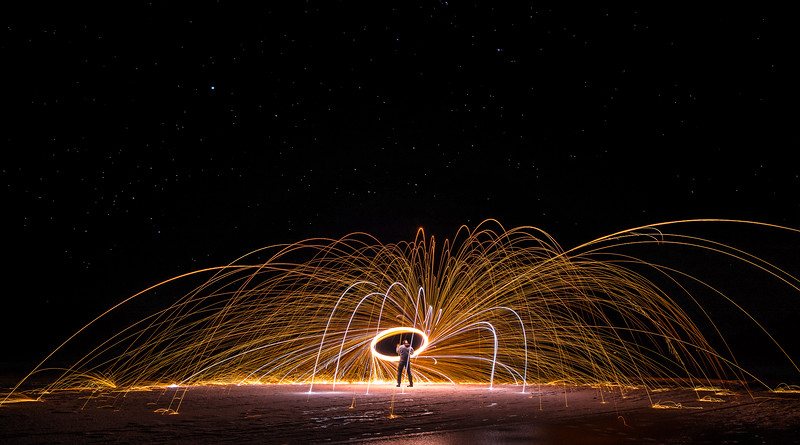 Steel Wool Spinning at Ghost Lake, AB