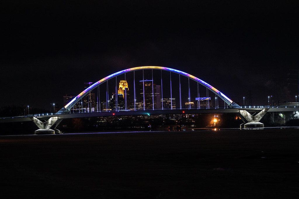 Vikings colors on Lowry bridge