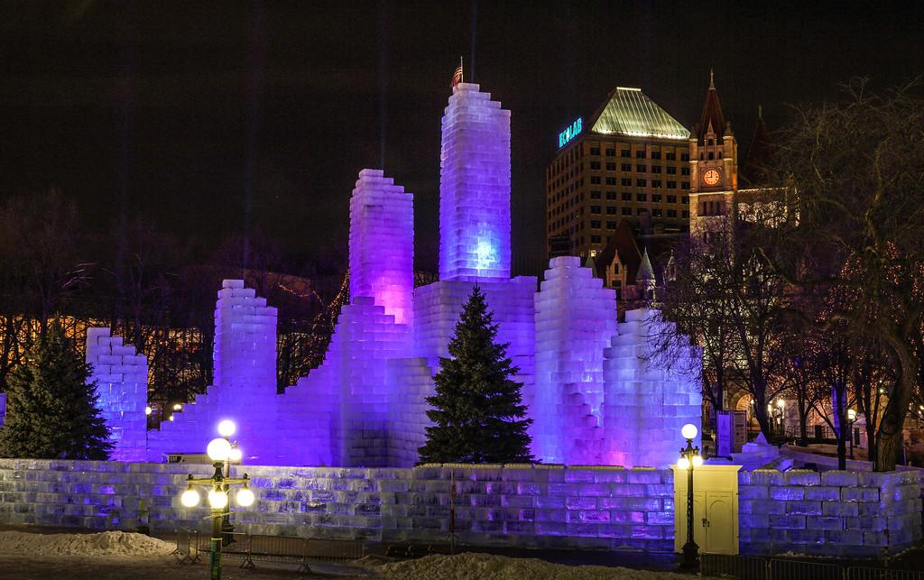 St Paul Winter Carnival Ice castle in Rice Park
