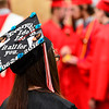 KRISTOPHER RADDER - BRATTLEBORO REFORMER<br /> Felicia Betit, a graduating senior of Twin Valley Middle High School,  decorates her cap to honor her father.