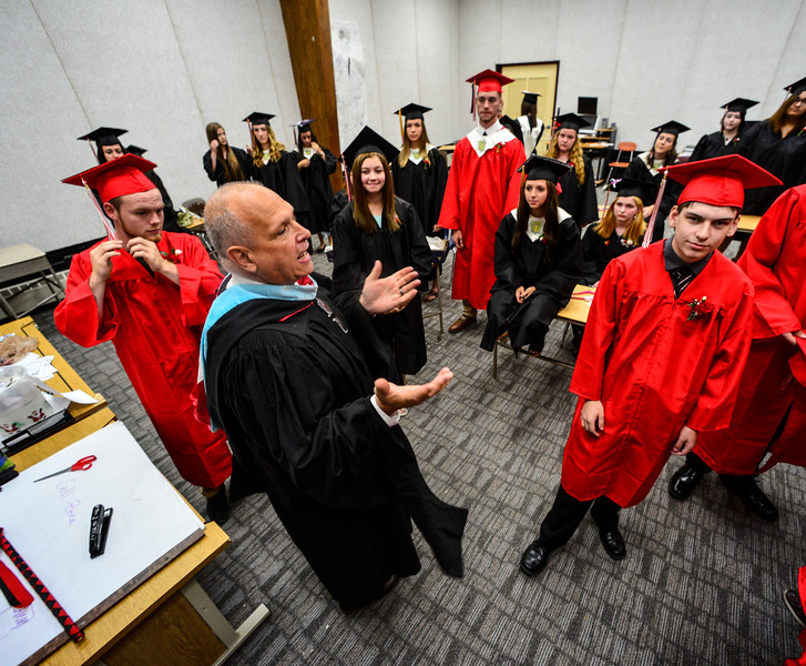 KRISTOPHER RADDER - BRATTLEBORO REFORMER<br /> Twin Valley Middle High School's Principal Thomas Fitzgerald gives some last minute words of encouragement to the class of 2017 before the start of the commencement ceremony on Saturday, June 10, 2017.