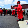 KRISTOPHER RADDER - BRATTLEBORO REFORMER<br /> Ian Bryce,  a graduating senior of Twin Valley Middle High School,  tosses a bean bag in a game of corn hole before the start of the commencement ceremony on Saturday, June 10, 2017.