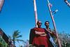 Portrait de l'architecte et du sayadaw (moine responsable d'un monastère) du nouveau monastère de l'île d'East Phayonka. Etat de l'Arakan/Birmanie (Myanmar)