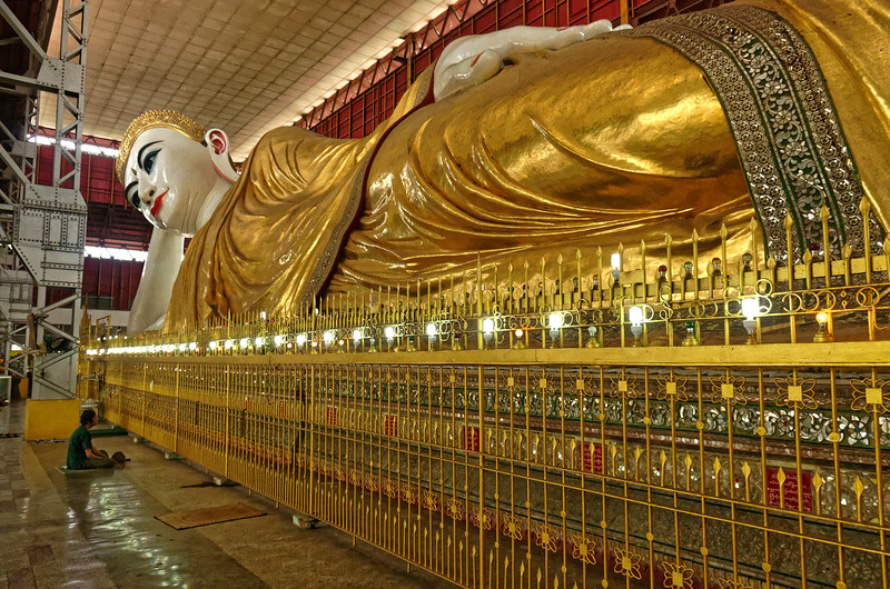 The giant reclining Buddha at Chauk Htat Gyi measures over 210 feet in length. It was created in 1966, replacing a slightly smaller version built in 1907.
