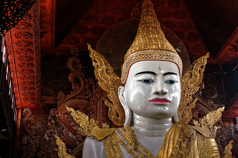 The Nga Htat Gyi temple was founded in 1588. Its gigantic seated Buddha, dating from 1900, is over 45 feet high.